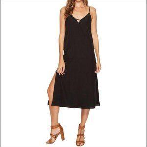 Amuse Society Austin Black Midi Slip Dress Medium